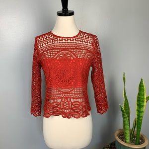 Lovers + Friends Night Bloom Top Burnt Orange Red